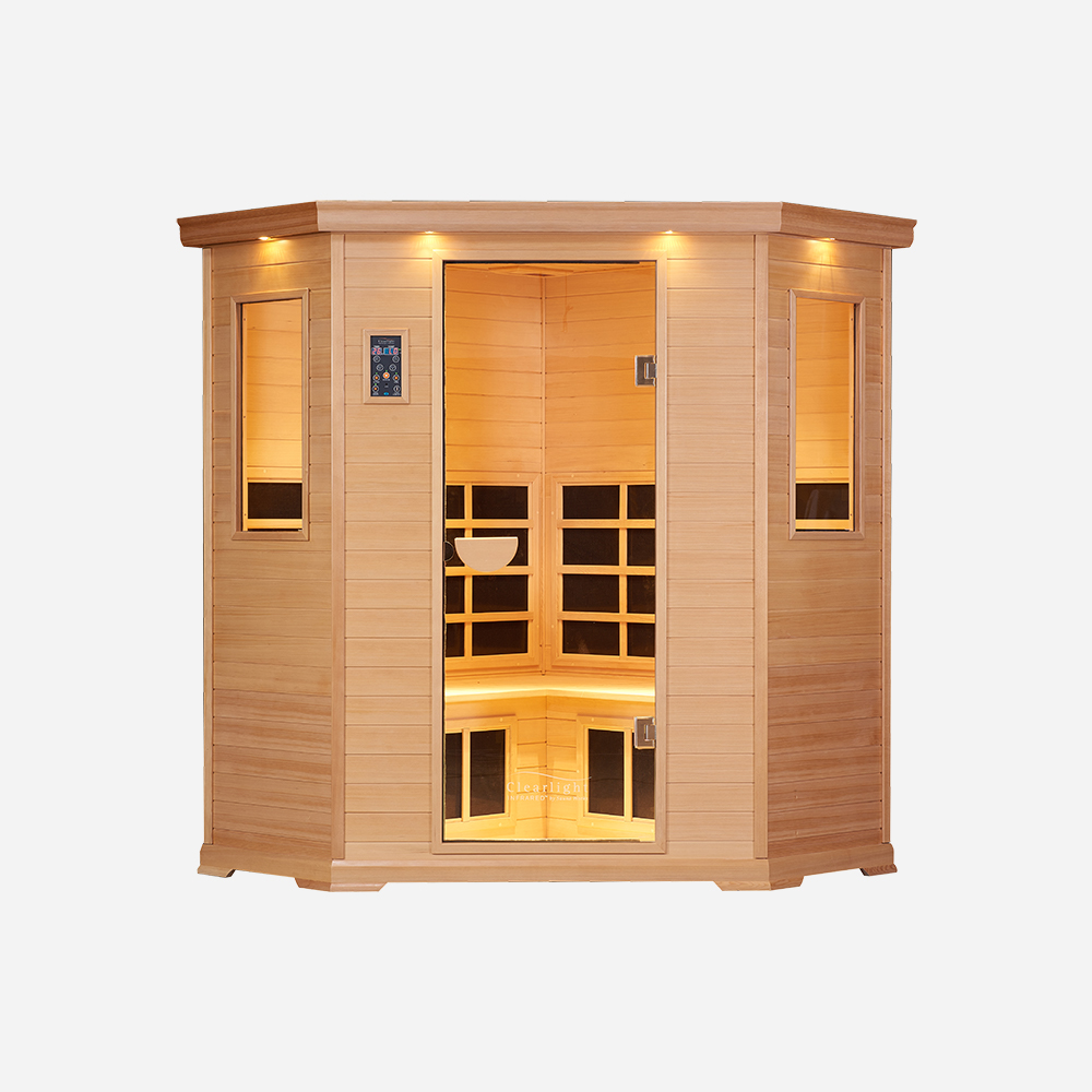 3-4-Person Essential CE Corner Sauna Cedar 1